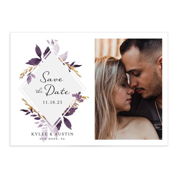 Leafy Frame Save the Date Card front purple