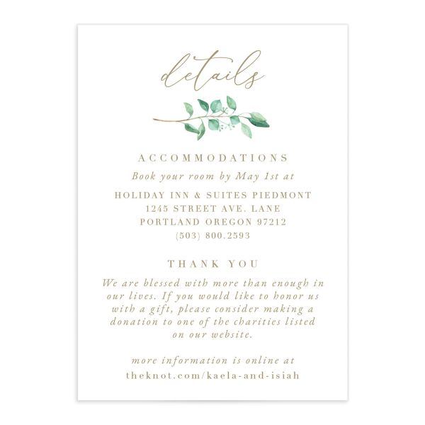 Elegant Eucalyptus Wedding Enclosure Card front