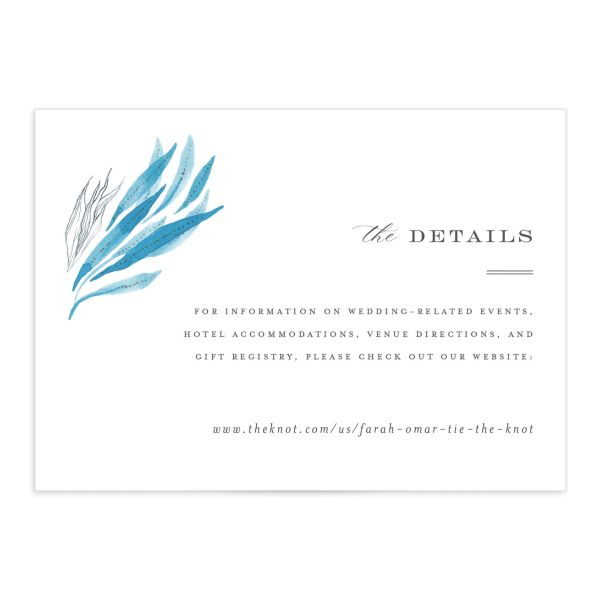 Elegant Beach Wedding Enclosure Card front in blue