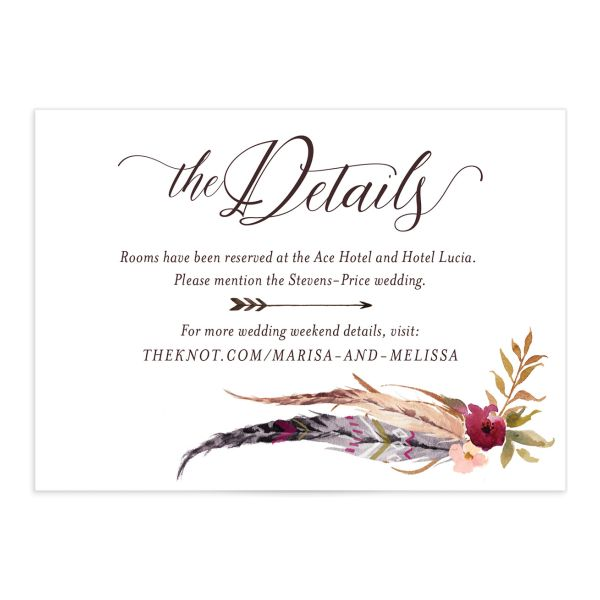 Bohemian Floral Wedding Details Card front burgundy