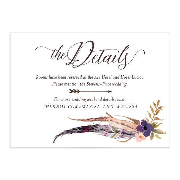 Bohemian Floral Wedding Details Card front purple