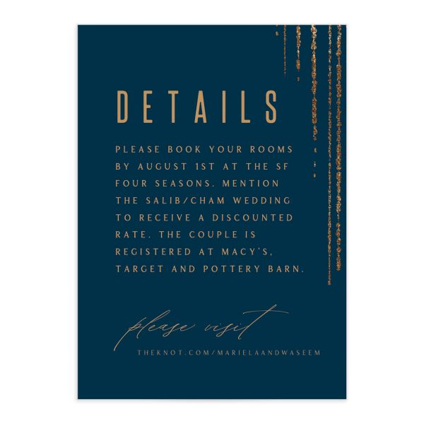 Classic Cascade Wedding Enclosure Card in navy