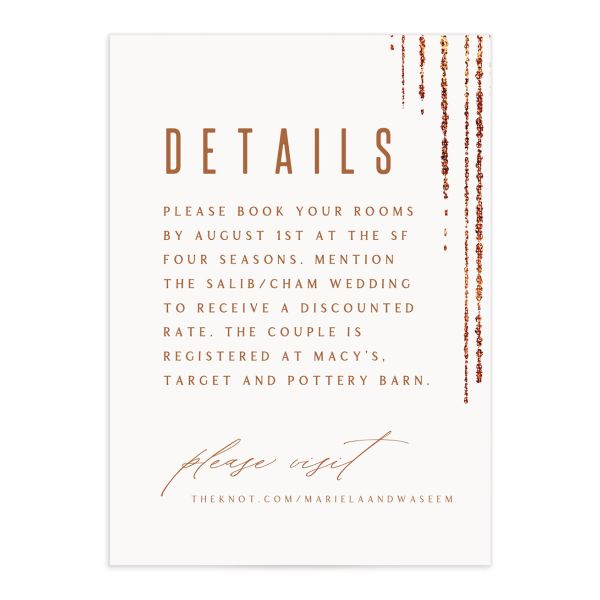Classic Cascade Wedding Enclosure Card in white