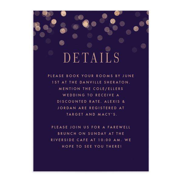 Elegant Glow Wedding Enclosure Cards