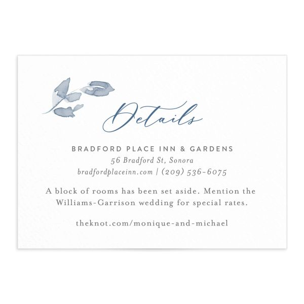 Shades of Blue Wedding Enclosure Card front