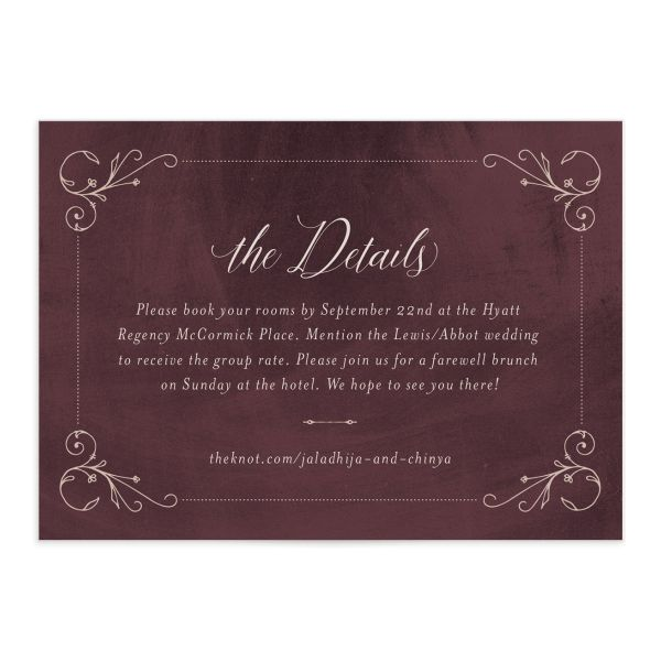 Vintage Luxe Wedding Enclosure Card front red