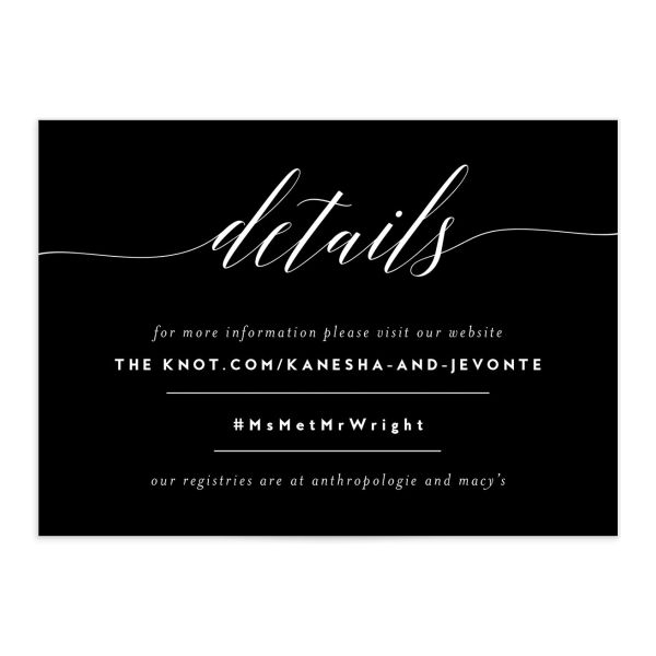 We Do Wedding Enclosure Card front black