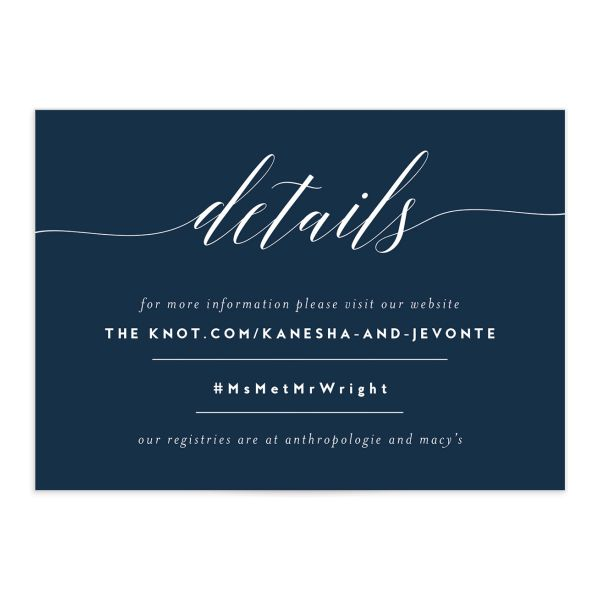 We Do Wedding Enclosure Card front blue