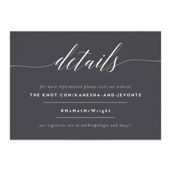 We Do Wedding Enclosure Card front grey