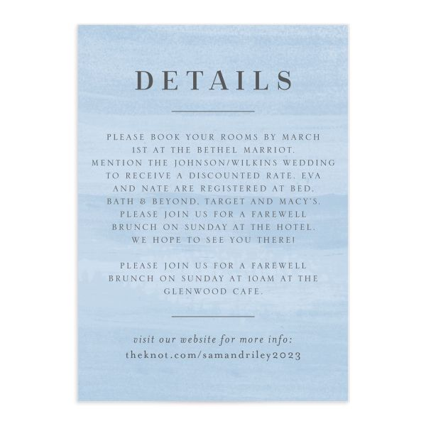 Wild Wreath Wedding Enclosure Card front blue