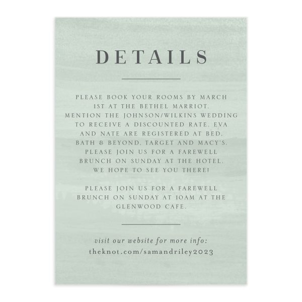 Wild Wreath Wedding Enclosure Card front green