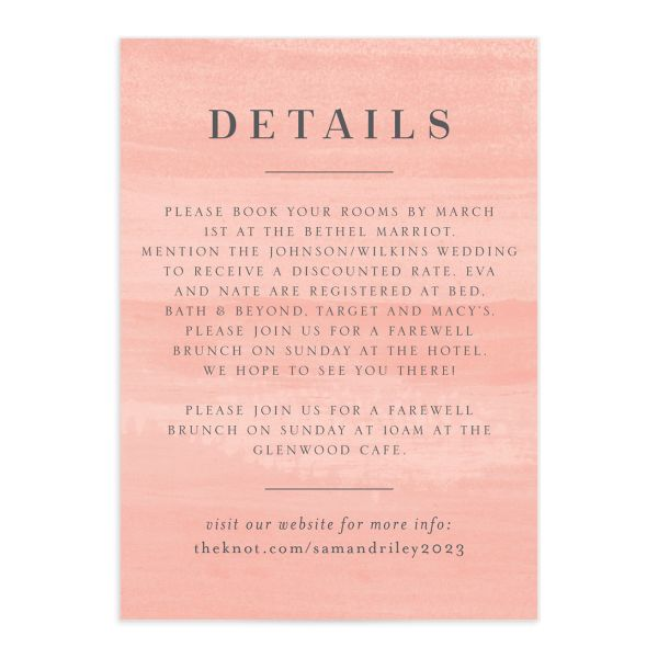 Wild Wreath Wedding Enclosure Card front pink