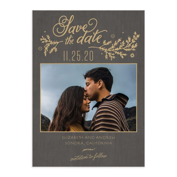 Rustic Chic Save the Date Card front brown
