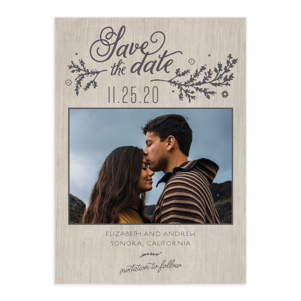 Rustic Chic Save the Date Card front grey