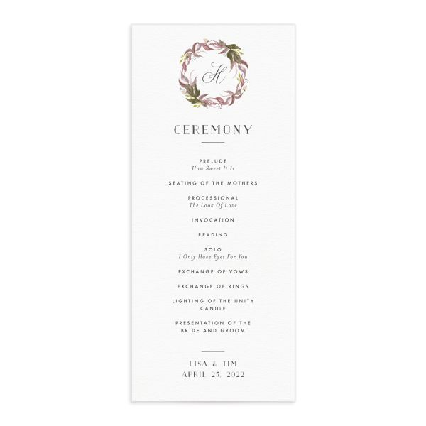 Leafy Wreath Wedding Program Card front purple