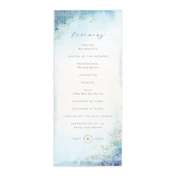 Organic Luxe Wedding Program Card front blue