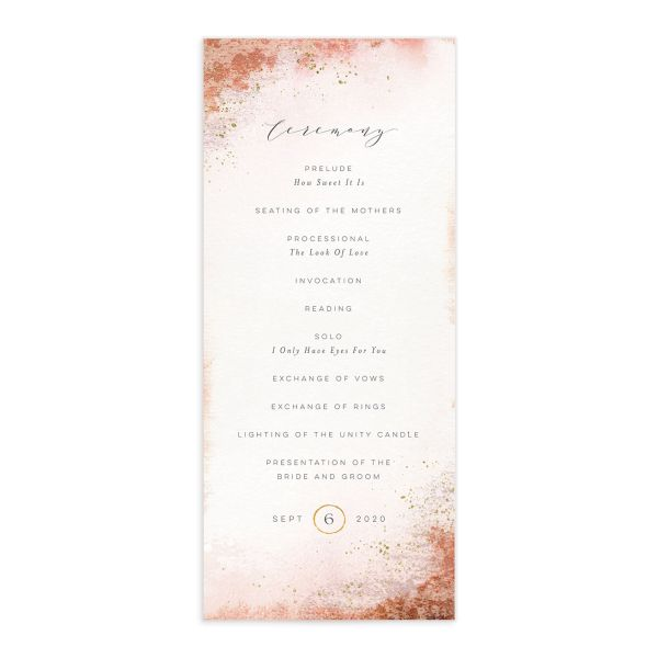 Organic Luxe Wedding Program Card front orange
