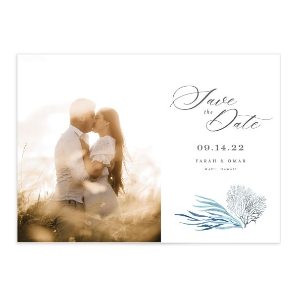 Elegant Beach Save the Date Card front closeup in blue