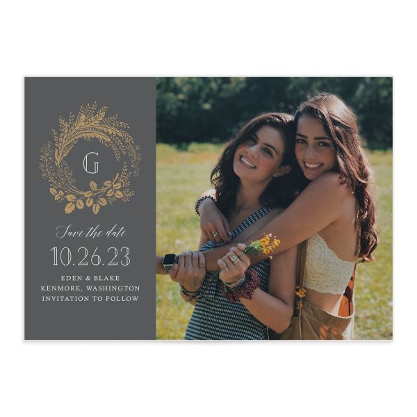 Golden Wreath Wedding Save the Date Card front grey