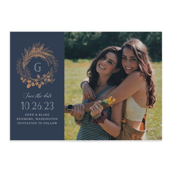 Golden Wreath Wedding Save the Date Card front navy