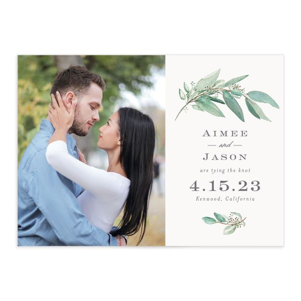 Lush Greenery Wedding Save the Date Card front