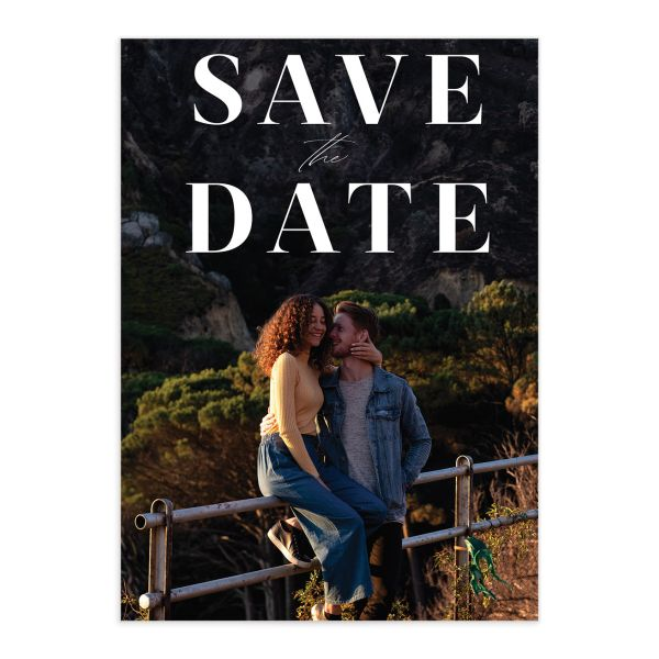Mod Tropic Save the Date Card front closeup in pink