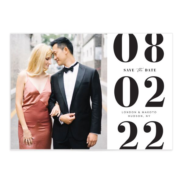 Modern Bodoni Save the Date Card front closeup