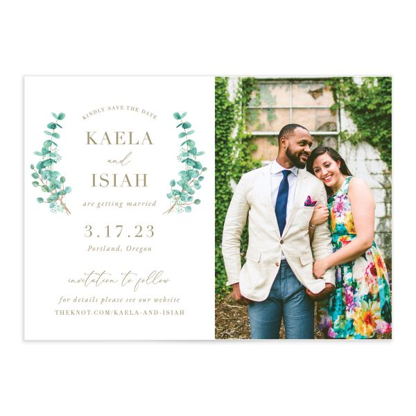 Elegant Eucalyptus Wedding Save the Date Card front