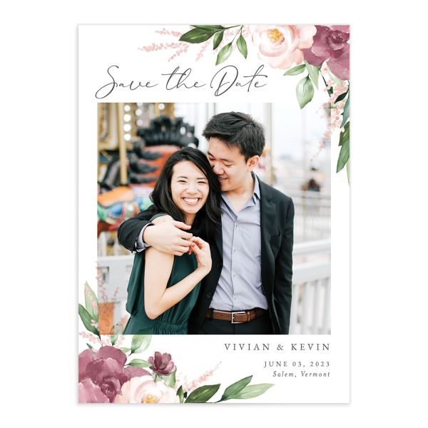Beloved Floral Save the Date Card front closeup in pink