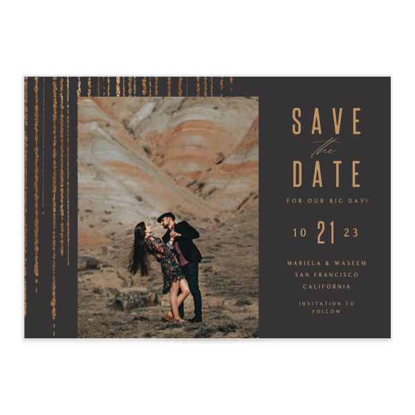 Classic Cascade Save the Date front closeup in black