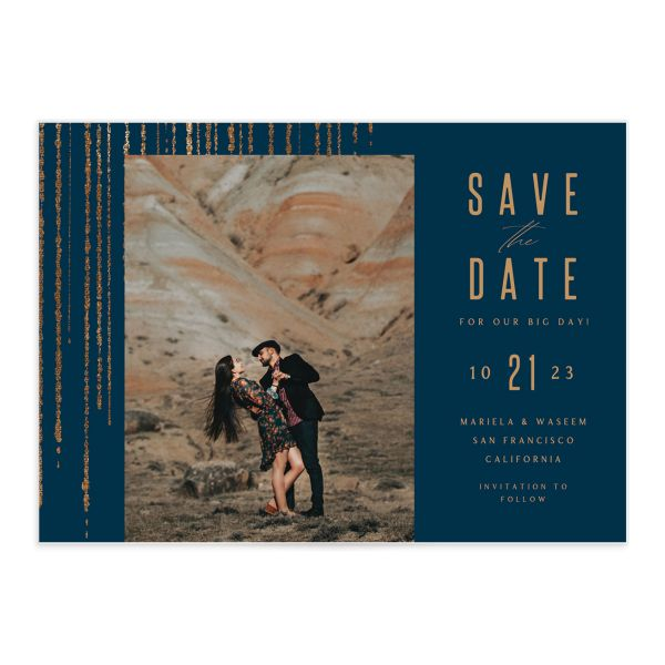 Classic Cascade Save the Date front closeup in navy