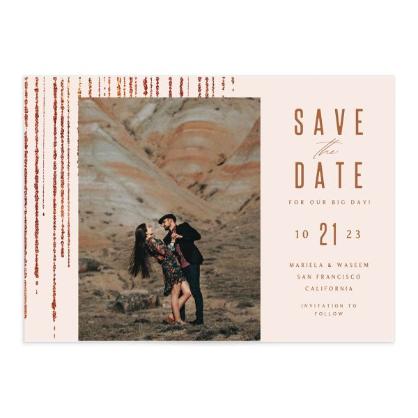 Classic Cascade Save the Date front closeup in pink