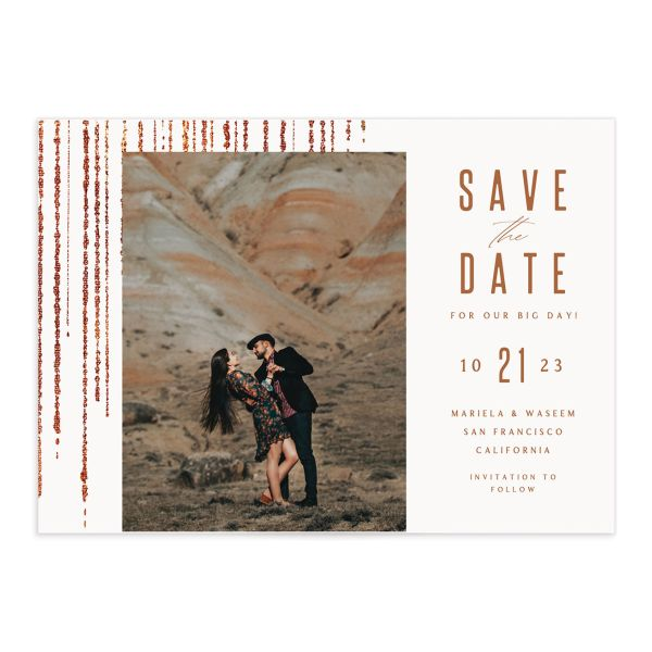 Classic Cascade Save the Date front closeup in white