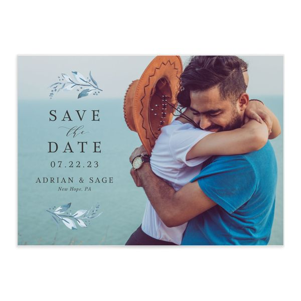 Classic Greenery Save the Date Card front in blue