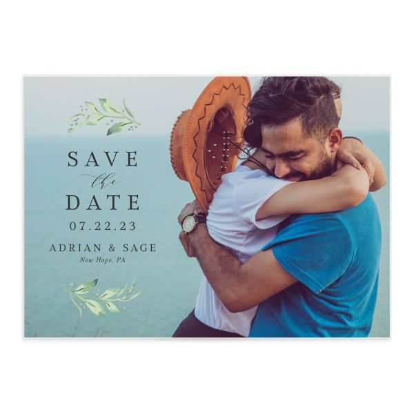 Classic Greenery Save the Date Card front in pink