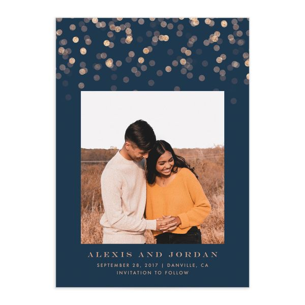 Elegant Glow Save the Date Card front closeup in blue