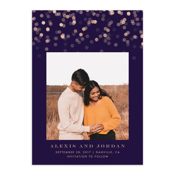 Elegant Glow Save the Date Card front closeup in purple
