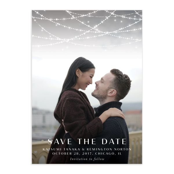 Elegant Lights Save the Date Card front closeup