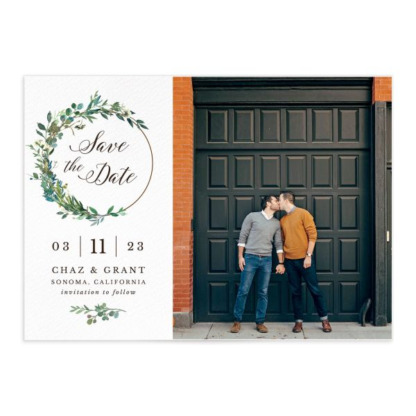 Greenery Hoop Save the Date Card front closeup