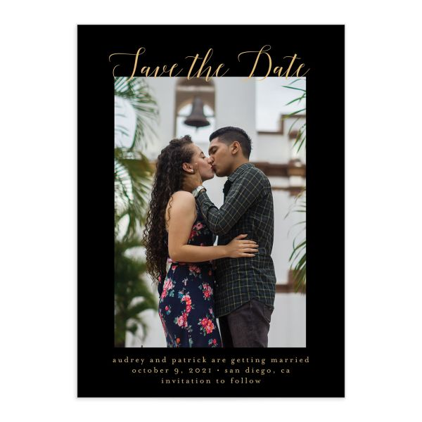 Marble and Gold Save the Date Card front black