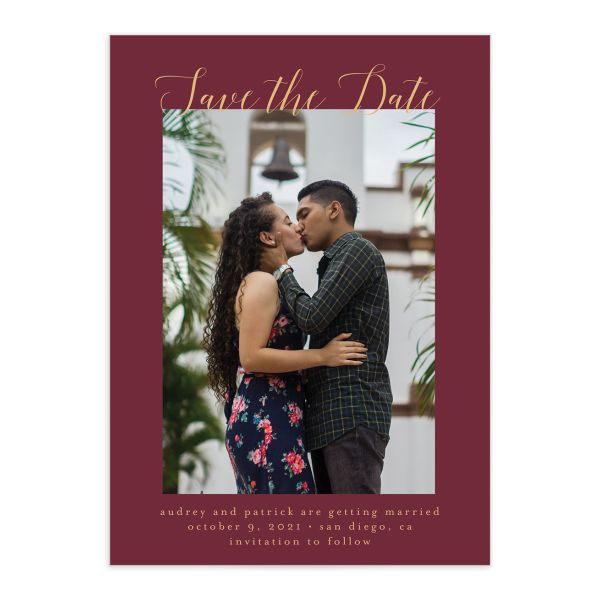 Marble and Gold Save the Date Card front red