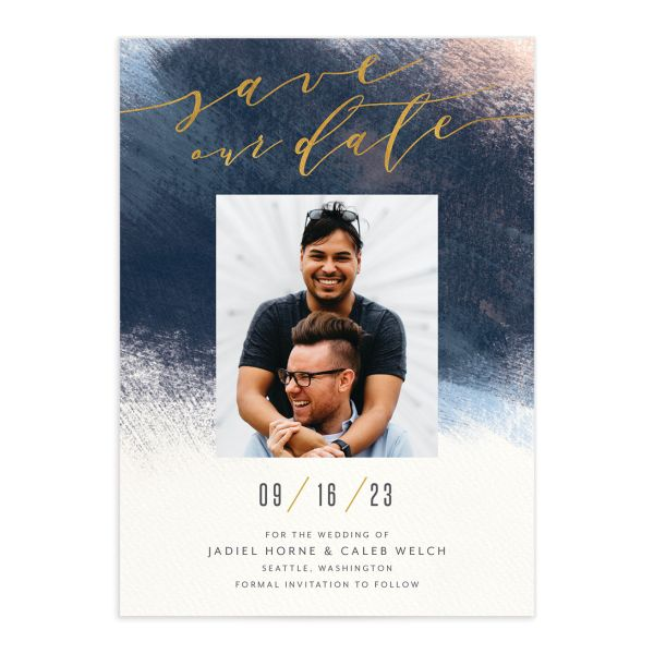 Modern Brush Save the Date Card front blue