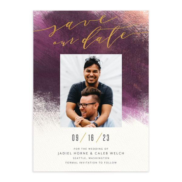 Modern Brush Save the Date Card front purple