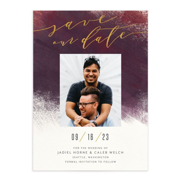 Modern Brush Save the Date Card front burgundy