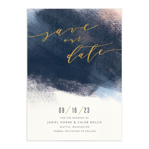 Modern Brushstroke Save the Date Card front blue