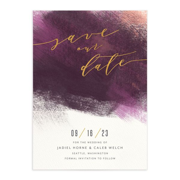 Modern Brushstroke Save the Date Card front purple