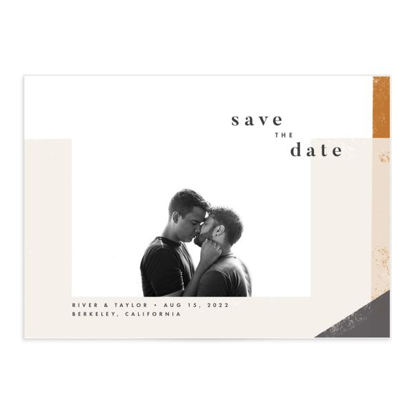 Modern Colorblock Save the Date Card front closeup in grey