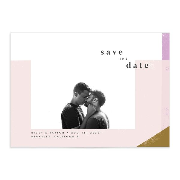 Modern Colorblock Save the Date Card front closeup in pink