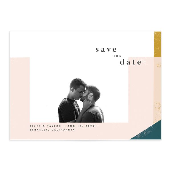 Modern Colorblock Save the Date Card front closeup in teal