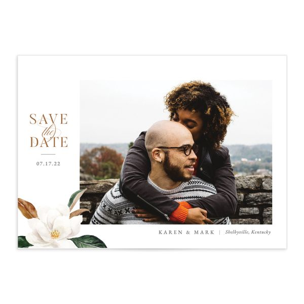 Painted Magnolia Save the Date Card front closeup in all colors